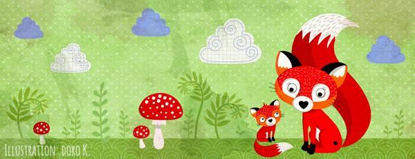 Fuchsfamilie Illustration