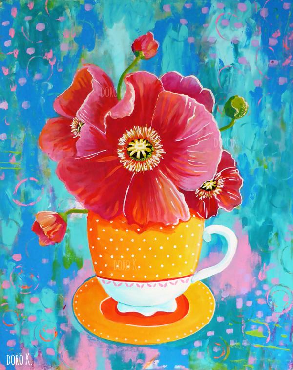 Gelbe Tasse mit Blumen - Acryl auf Pappe