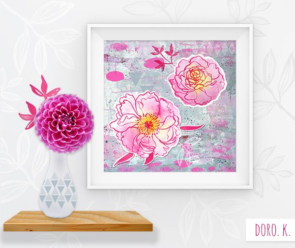 """""""Among the Wildflowers - PEONY"""" ; Mixed Media Picture"""