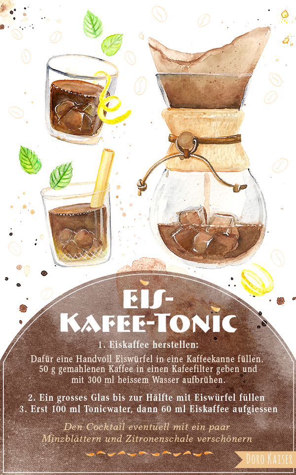 Illustration Eis Kaffee Tonic