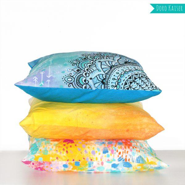 diy anleitung f r farbenfrohe und gemusterte kissen. Black Bedroom Furniture Sets. Home Design Ideas