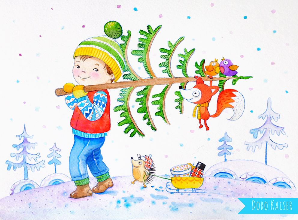 Kinderillustration Weihnachtsbaum Detail