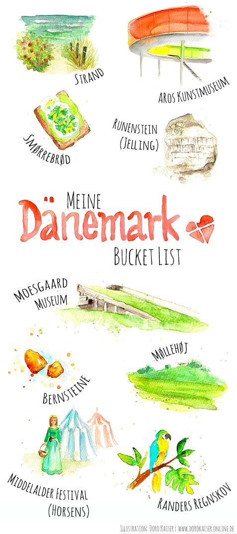 Meine Bucket List für den Dänemark Urlaub: 9 Dinge, die ich unbedingt in Mitteljütland machen möchte, mit Beschreibung und Illustration   www.dorokaiser.online.de