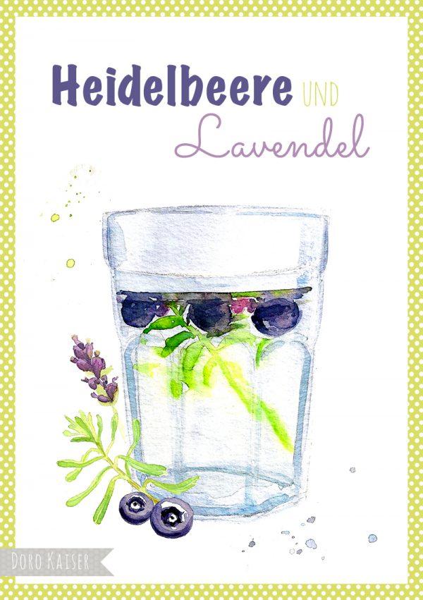 "Food Illustration Heidelbeere und Lavendel "" Infused Water "", Doro Kaiser | www.dorokaiser.online.de"