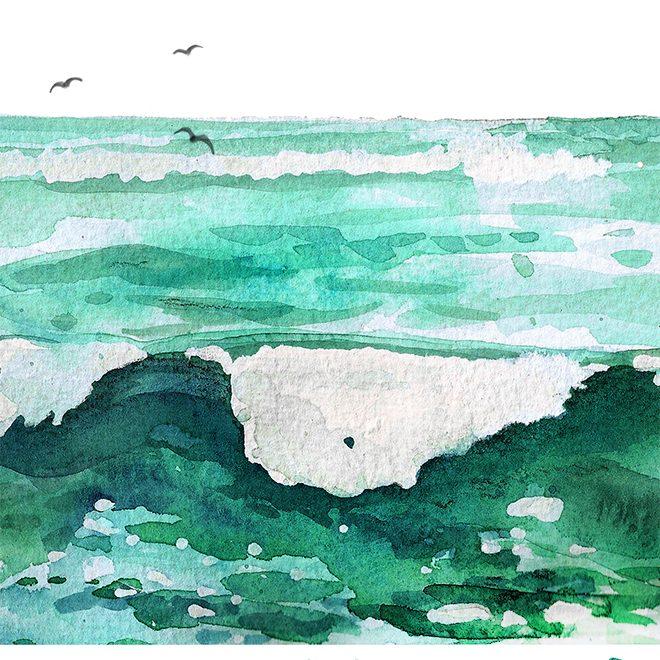 Zitat und Lettering: Ich habe Meerweh, Illustration: Doro Kaiser | www.dorokaiser.online.de