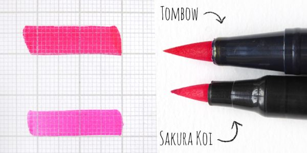 Review Vergleich Brush Pen - TOMBOW vs. Sakura KOI | Stiftspitze / Nib | www.dorokaiser.online.de